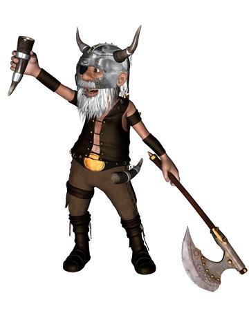 enano: Guerrero vikingo Toon enano con un hacha y cuerno para beber, 3d digital prestados illustrationAxe