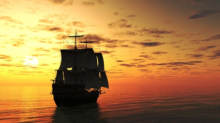 3d boat: Sailing ship at sunset on a calm sea, 3d digitally rendered illustration