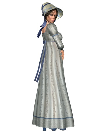 period: Jane Austen character in Regency Period dress and bonnet, 3d digitally rendered illustration Stock Photo