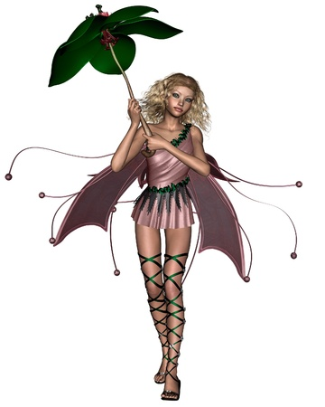 elven: Blonde fairy in a pink dress holding a leaf umbrella, 3d digitally rendered illustration