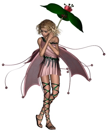 fey: Blonde fairy in a pink dress holding a leaf umbrella, 3d digitally rendered illustration