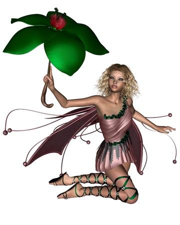 kneeling: Blonde fairy in a pink dress holding a leaf umbrella, 3d digitally rendered illustration