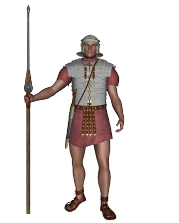 Imperial Roman Legionary Soldier on guard, 3d digitally rendered illustration Stock Photo