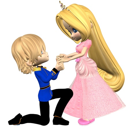 handsome: Pretty toon fairytale princess, dressed in pink with a gold tiara and her handsome prince, 3d digitally rendered illustration Stock Photo