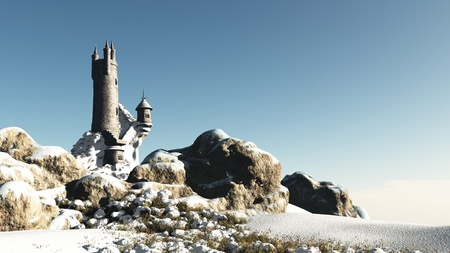 mediaeval: Medieval or fantasy wizards tower in a snowy winter landscape, 3d digitally rendered illustration Stock Photo