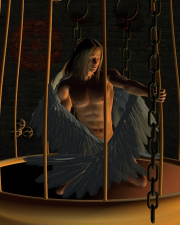 Beautiful male angel imprisoned in a golden cage in a dark dungeon, 3d digitally rendered illustration illustration