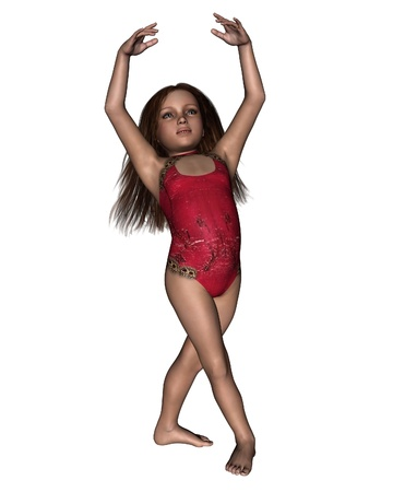 Young girl dancing or performing gymnastics, 3d digitally rendered illustration illustration