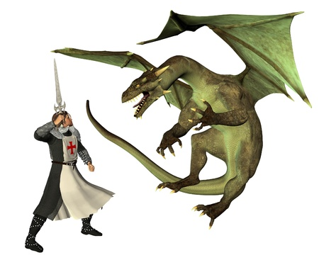 聖ジョージとドラゴン、(イギリスの守護聖人、聖ジョージの日は 4 月 23 日)、3 d レンダリングされたデジタル イラストレーション 写真素材