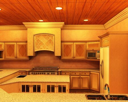 worktops: Modern kitchen with wooden cupboards, granite worktops, chrome appliances and soft ceiling lights, 3d digitally rendered illustration