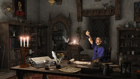 sorcerer: Alchemist working in his study surrounded by books, potions and instruments, 3d digitally rendered illustration