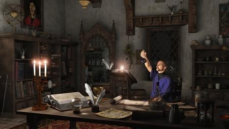 alquimia: Alquimista de trabajo en su estudio rodeado de libros, pociones y los instrumentos, 3d rindió la ilustración digital Foto de archivo
