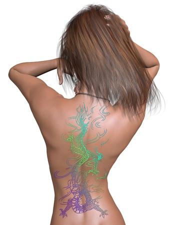 tatouage dragon: Retour femme avec tatouage de dragon de couleur vive chinois pour l'Année du Dragon, 3d numériquement rendu illustration