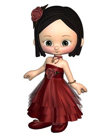 toons: Cute toon Valentines Day girl in a red dress with gold heart shaped pendant Stock Photo