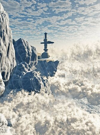 above clouds: Futuristic Mountain Outpost above the clouds