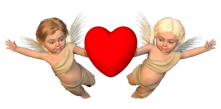 Two winged cherubs carrying a red heart for Valentines Day, 3d digitally rendered illustration illustration