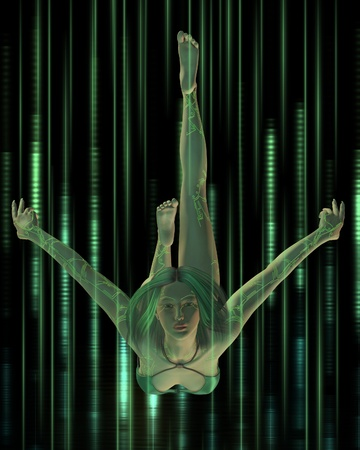 hi fi: Woman with digital tattoos diving through a streaming matrix of green lights and fibres, 3d digitally rendered illustration