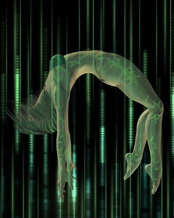 fibres: Woman with digital tattoos floating in a streaming matrix of green lights and fibres, 3d digitally rendered illustration Stock Photo