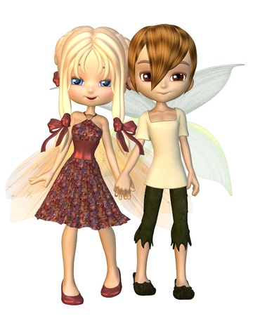 Cute toon fairy boy and girl holding hands, 3d digitally rendered illustration illustration