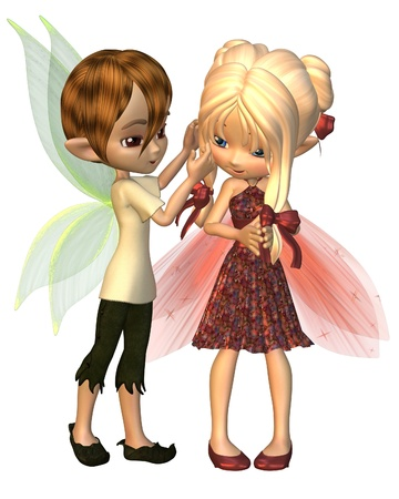 girlfriends: Cute toon fairy boy and girl, 3d digitally rendered illustration