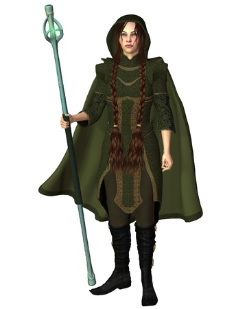 Female magic user with a glowing staff dressed in a green hooded travelling cloak, 3d digitally rendered illustration illustration