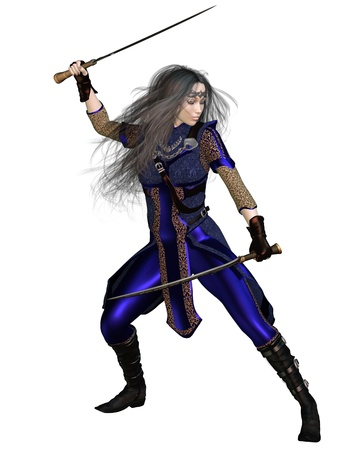 Fantasy Warrior Princess in a fighting pose with two swords, 3d digitally rendered illustration