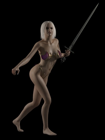 warrior woman: Portrait of a beautiful blonde female fantasy warrior holding a sword on a black background, 3d digitally rendered illustration Stock Photo