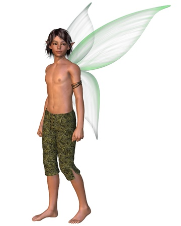 cute fairy: Fairy Boy with green gossamer wings, 3d digitally rendered illustration Stock Photo