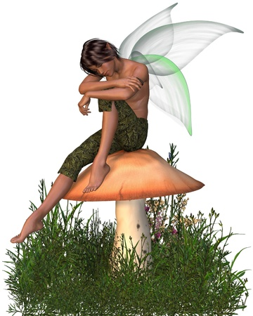 fairy toadstool: Fairy Boy with green gossamer wings sitting on a toadstool half-asleep, 3d digitally rendered illustration