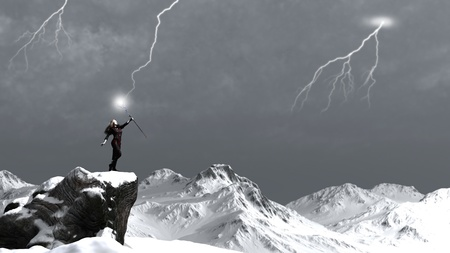 mage: Fantasy sorceress on a rocky mountain summoning a lightning storm, 3d digitally rendered illustration