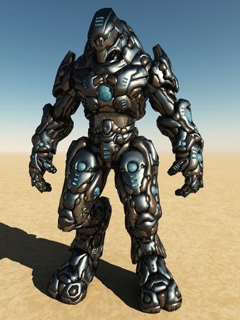 Futuristic science fiction battle droid in a desert landscape, 3d digitally rendered illustration