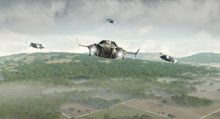Futuristic science fiction scout ships flying a reconnaisance over rural farmland, 3d digitally rendered illustration illustration