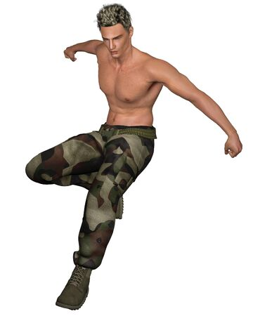 leaping: Leaping soldier wearing green camouflage pants and webbing belt, 3d digitally rendered illustration Stock Photo