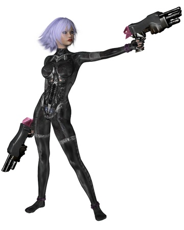 Futuristic sci-fi girl with lilac hair, wearing a neural catsuit and holding two large guns, 3d digitally rendered illustration illustration