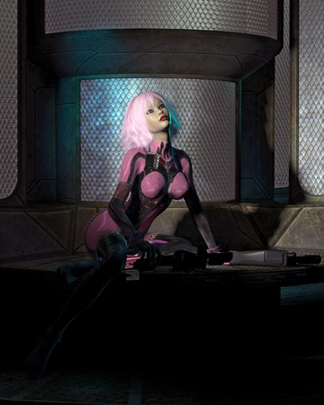 sci fi: Futuristic sci-fi girl with pink hair, wearing a neural catsuit and holding two large guns, sitting alone in a dark room, 3d digitally rendered illustration