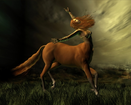 redhead woman: Female centaur facing into a storm, 3d digitally rendered illustration Stock Photo