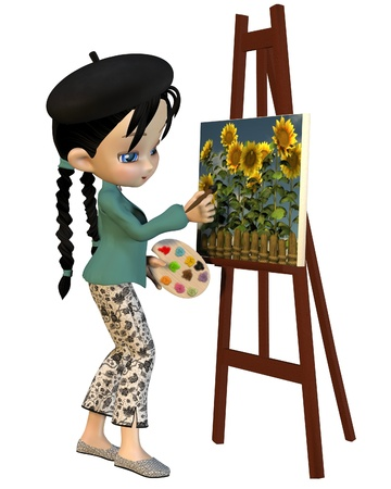 toon: Cute toon artist girl with pigtails and beret painting sunflowers, 3d digitally rendered illustration Stock Photo