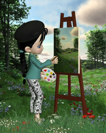 Cute toon artist girl with pigtails and beret painting a countryside landscape outdoors, 3d digitally rendered illustration illustration