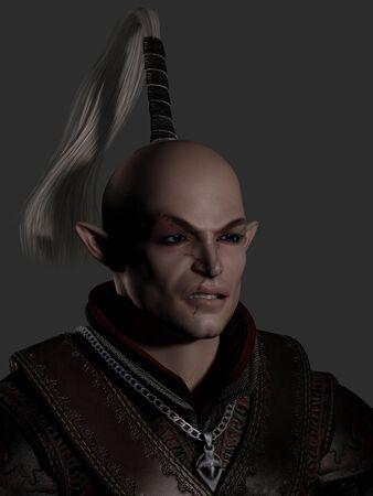 elven: Portrait of a battle scarred elven warrior, 3d digitally rendered illustration