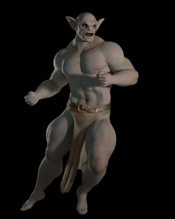 loincloth: Goblin or troll champion in a fighting pose on a black background, 3d digitally rendered illustration