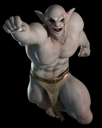 creature of fantasy: Goblin or troll champion in a leaping pose on a black background, 3d digitally rendered illustration