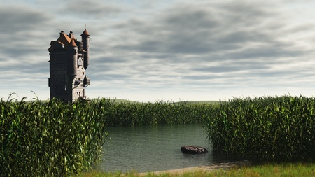 Mediaeval or fantasy tower in empty marshlands with depth of field effect to focus on tower, 3d digitally rendered illustration illustration
