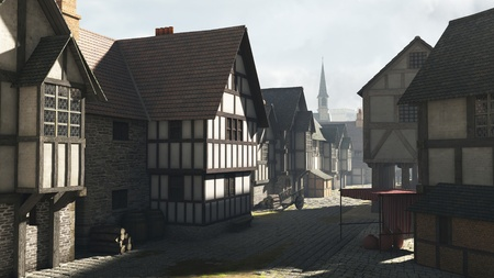 Street Scene set in a European town during the Middle Ages or Medieval period with half-timbered houses and market hall, 3d digitally rendered illustration Stock Photo