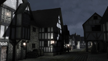 timbered: Street Scene at night set in a European town during the Middle Ages or Medieval period with half-timbered houses and market hall, 3d digitally rendered illustration