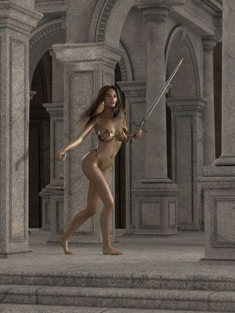 fantasy woman: Beautiful fantasy woman warrior guarding a stone temple, 3d digitally rendered illustration