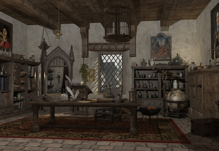 sorcerer: Alchemist s study with books, potions and instruments, 3d digitally rendered illustration Stock Photo