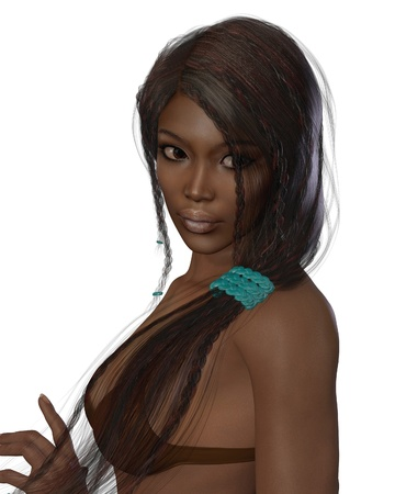 plait: Portrait of a beautiful dark skinned brunette woman with long hair and braids, 3d digitally rendered illustration