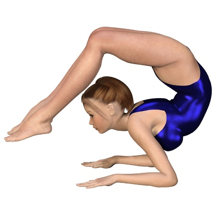 supple: Girl in a shiny blue leotard doing yoga in a Scorpion Pose, 3d digitally rendered illustration Stock Photo