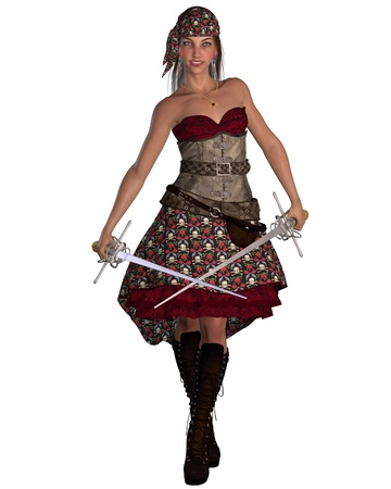 Dark-haired smiling female pirate with twin rapiers and bandana, 3d digitally rendered illustration illustration