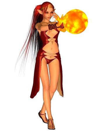 spell: Fantasy fire elf casting a spell to create a fireball, 3d digitally rendered illustration