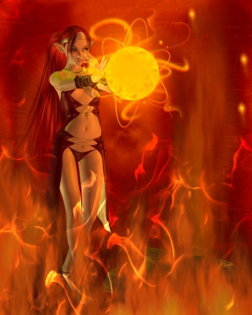 spells: Fantasy fire elf in her lair practising a fire spell from her spellbook to create a fireball, 3d digitally rendered illustration